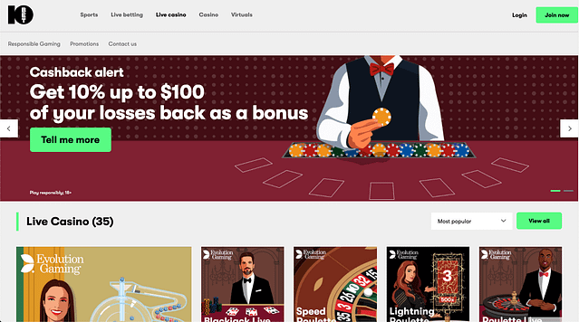 10Bet online Casino Lobby