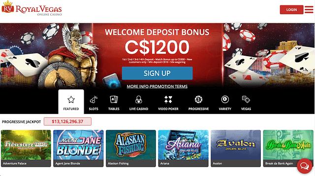 Royal Vegas - Slots Page
